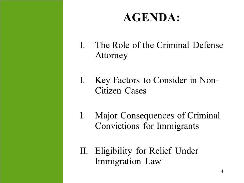AGENDA: The Role of the Criminal Defense Attorney
