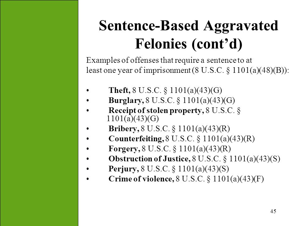 Sentence-Based Aggravated Felonies (cont'd)