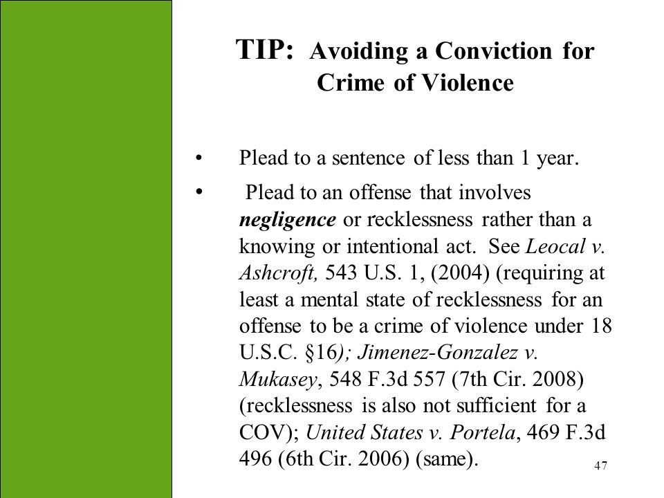 TIP: Avoiding a Conviction for Crime of Violence