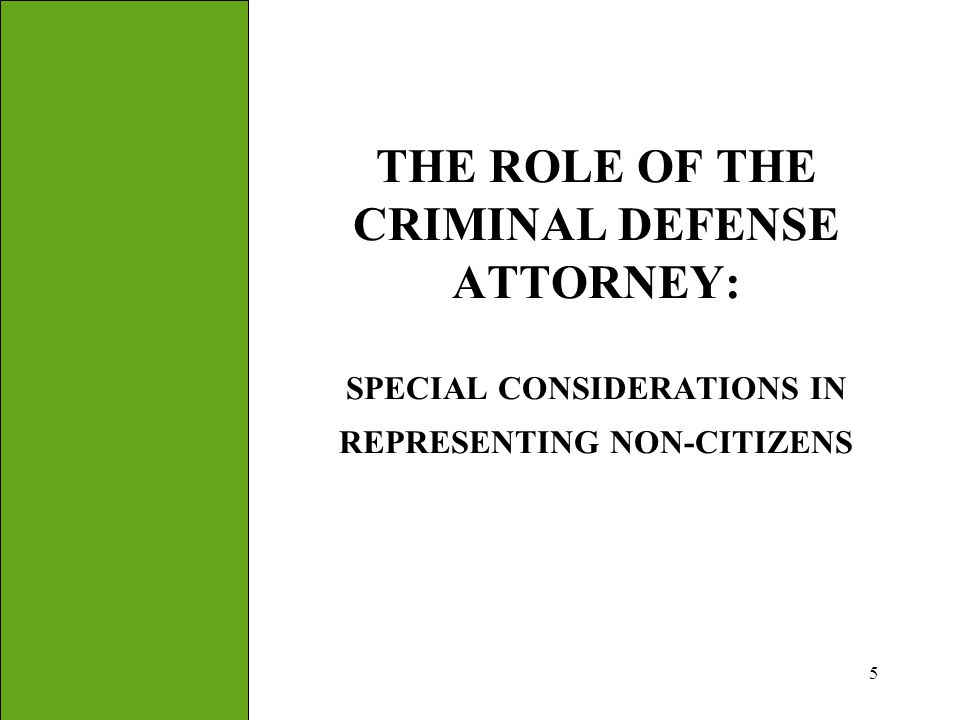 THE ROLE OF THE CRIMINAL DEFENSE ATTORNEY: SPECIAL CONSIDERATIONS IN REPRESENTING NON-CITIZENS