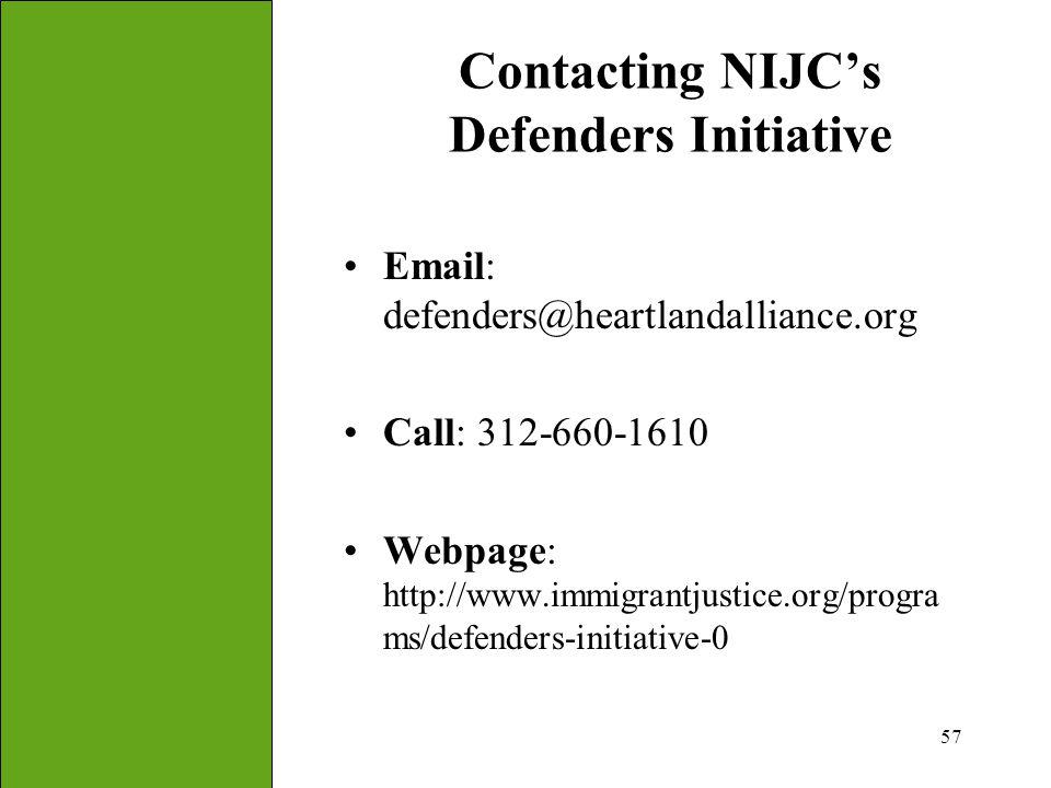 Contacting NIJC's Defenders Initiative