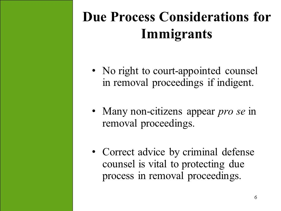 Due Process Considerations for Immigrants