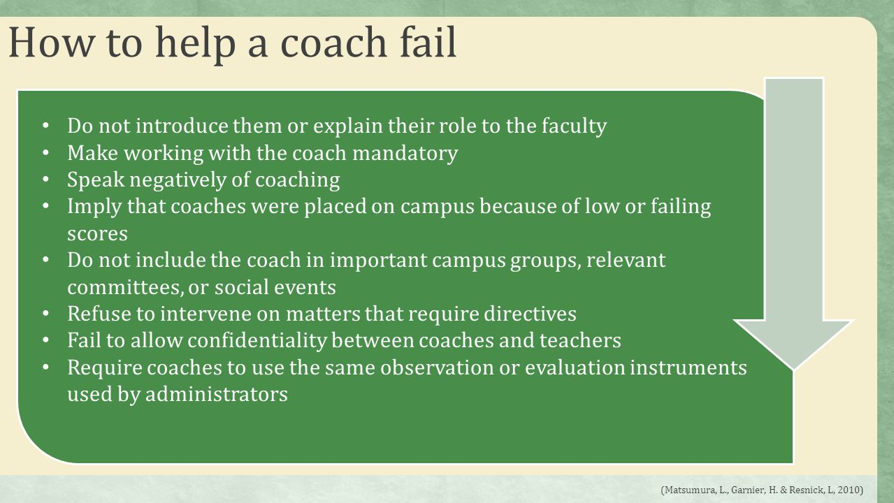 How to help a coach fail Do not introduce them or explain their role to the faculty. Make working with the coach mandatory.