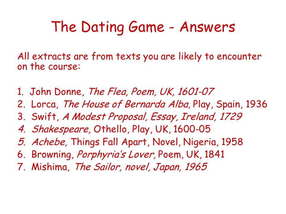 The Dating Game - Answers