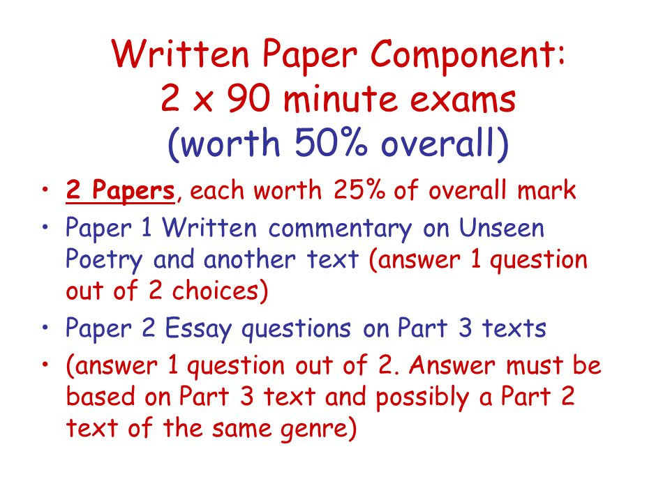Written Paper Component: 2 x 90 minute exams (worth 50% overall)