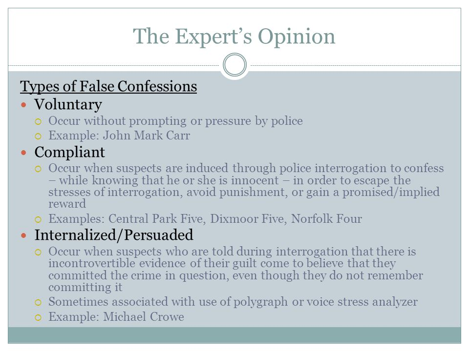 The Expert's Opinion Types of False Confessions Voluntary Compliant
