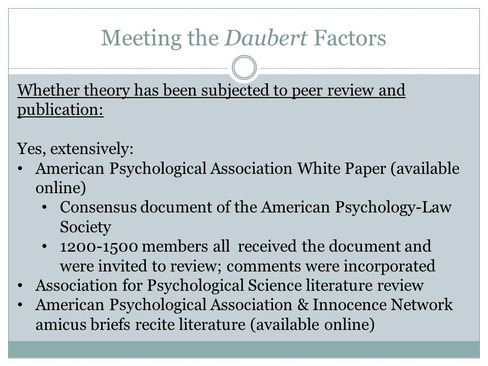 Meeting the Daubert Factors
