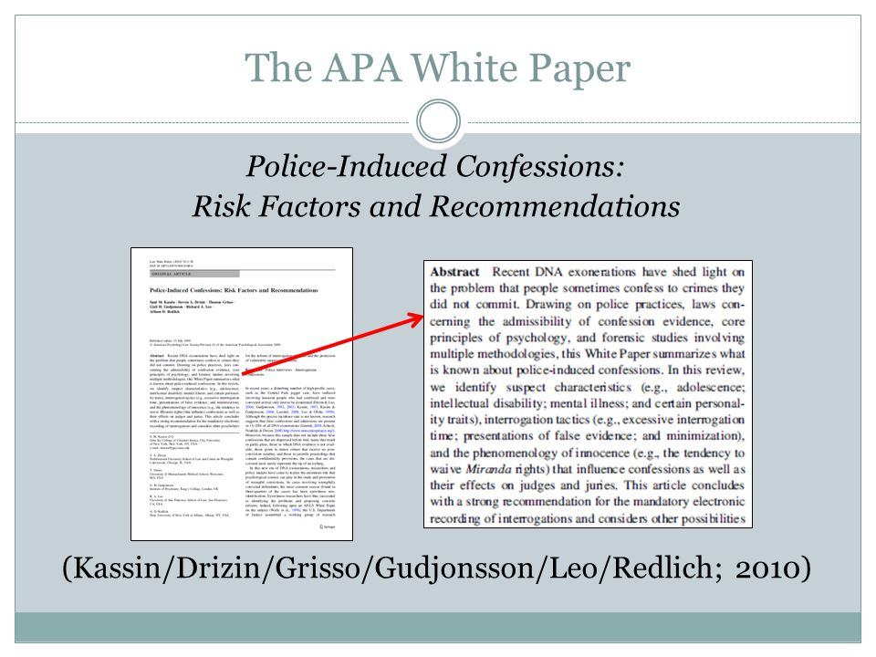 The APA White Paper Police-Induced Confessions: Risk Factors and Recommendations (Kassin/Drizin/Grisso/Gudjonsson/Leo/Redlich; 2010)