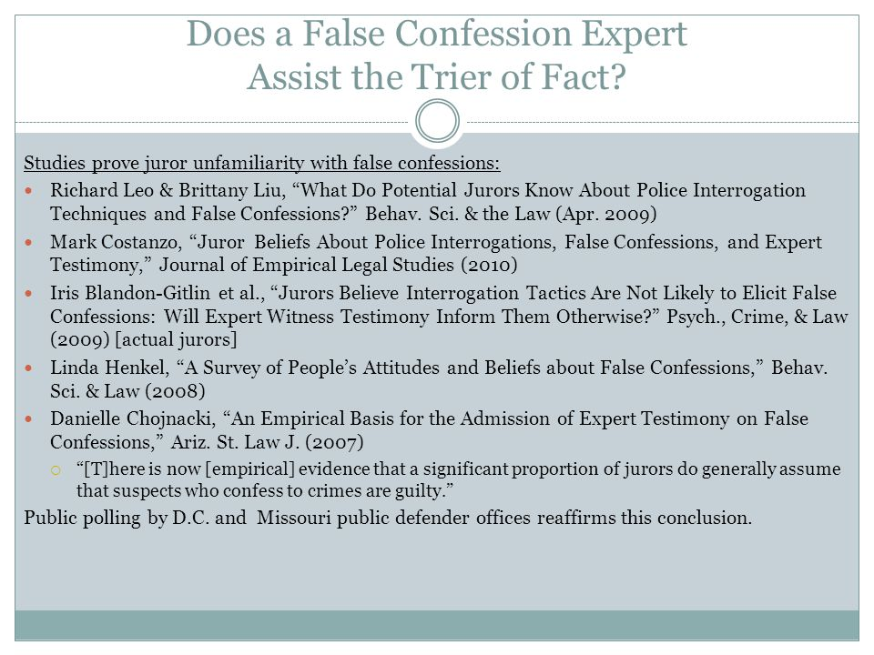 Does a False Confession Expert Assist the Trier of Fact
