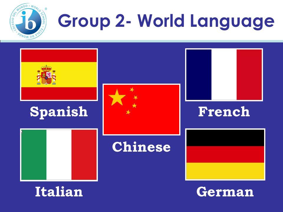 Group 2- World Language Spanish French Chinese Italian German