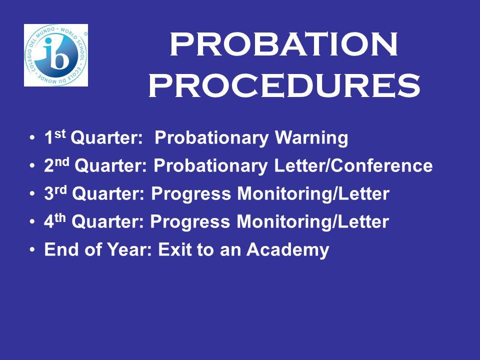 PROBATION PROCEDURES 1st Quarter: Probationary Warning