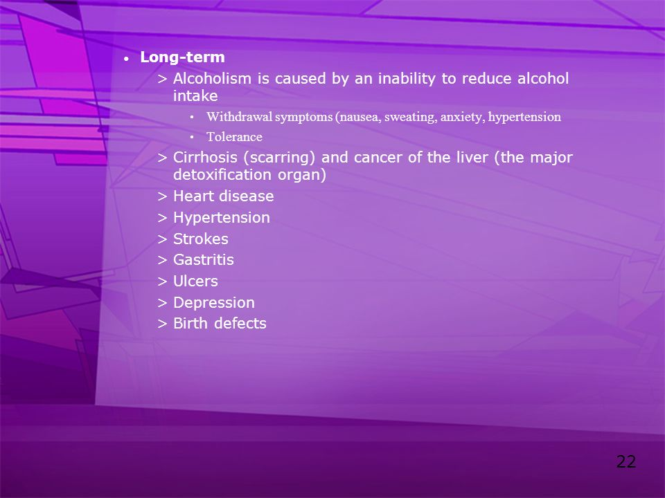 Alcoholism is caused by an inability to reduce alcohol intake