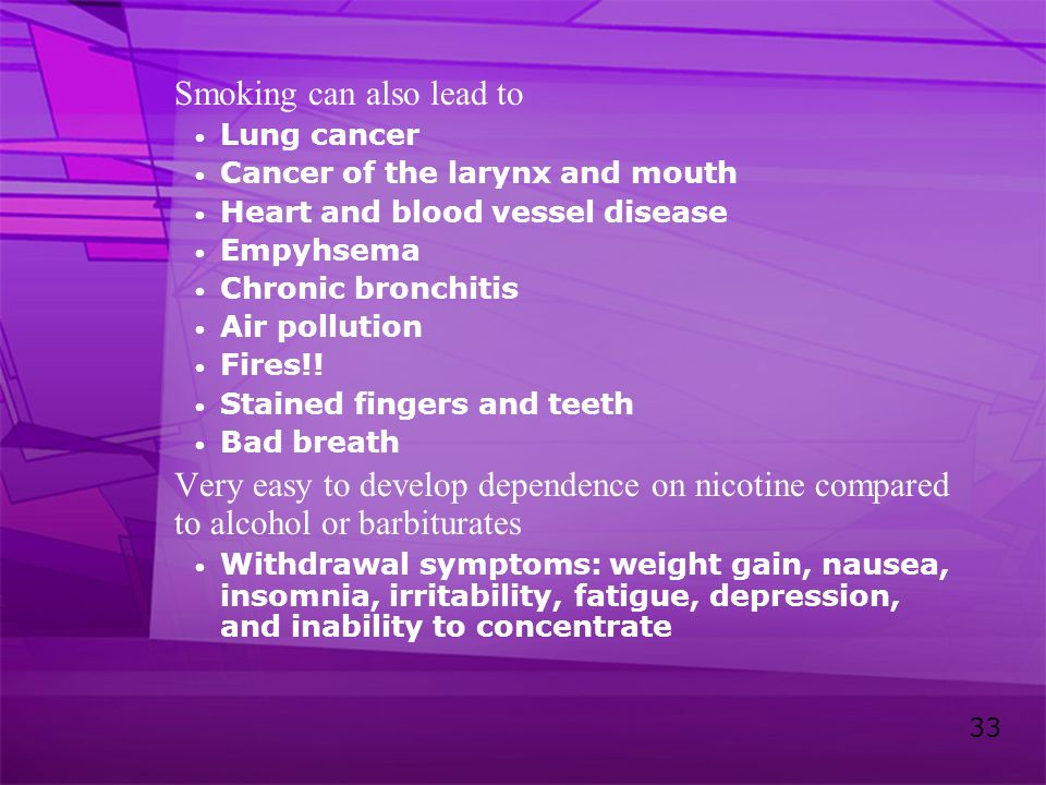 Smoking can also lead to