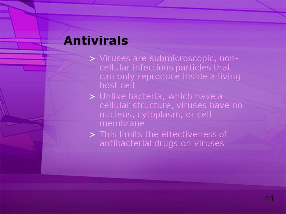 Antivirals Viruses are submicroscopic, non-cellular infectious particles that can only reproduce inside a living host cell.