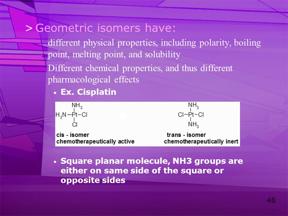 Geometric isomers have: