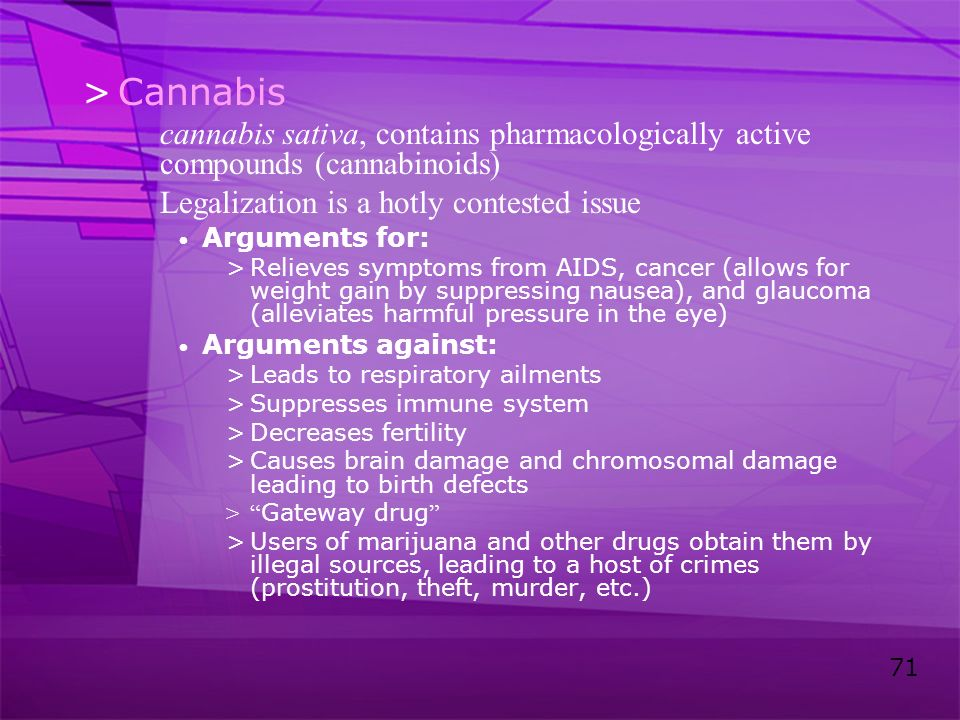 Cannabis cannabis sativa, contains pharmacologically active compounds (cannabinoids) Legalization is a hotly contested issue.