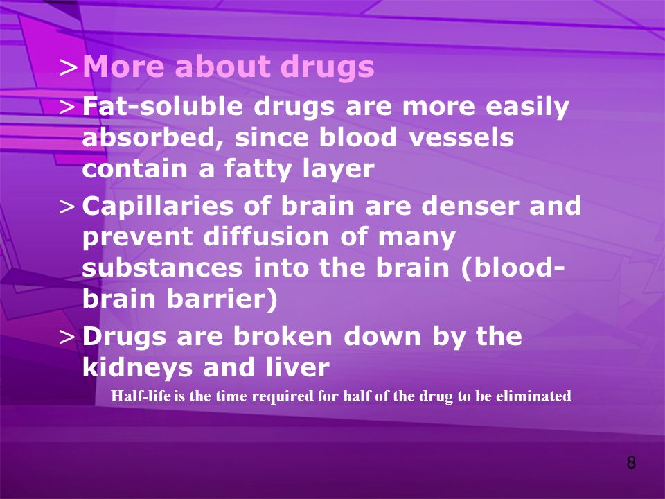More about drugs Fat-soluble drugs are more easily absorbed, since blood vessels contain a fatty layer.
