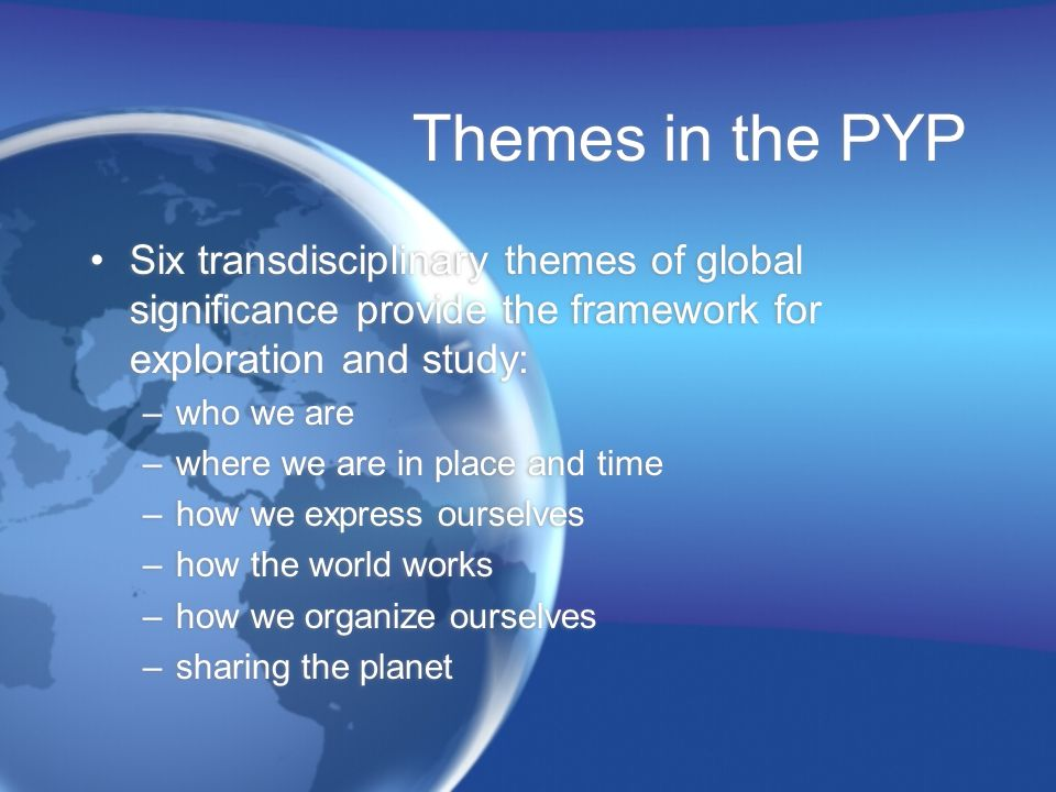 Themes in the PYP Six transdisciplinary themes of global significance provide the framework for exploration and study: