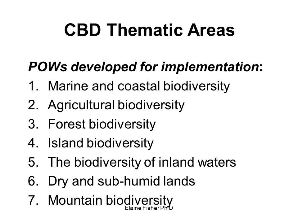 POWs developed for implementation: Marine and coastal biodiversity