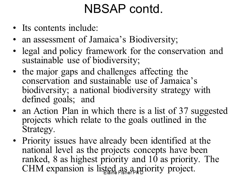 NBSAP contd. Its contents include: