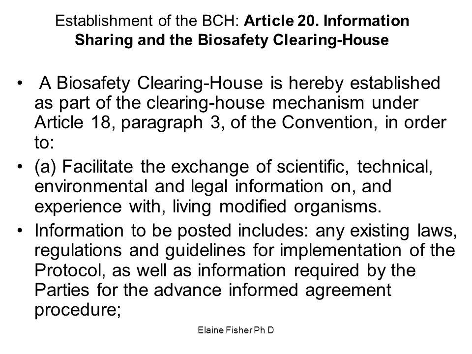 Establishment of the BCH: Article 20
