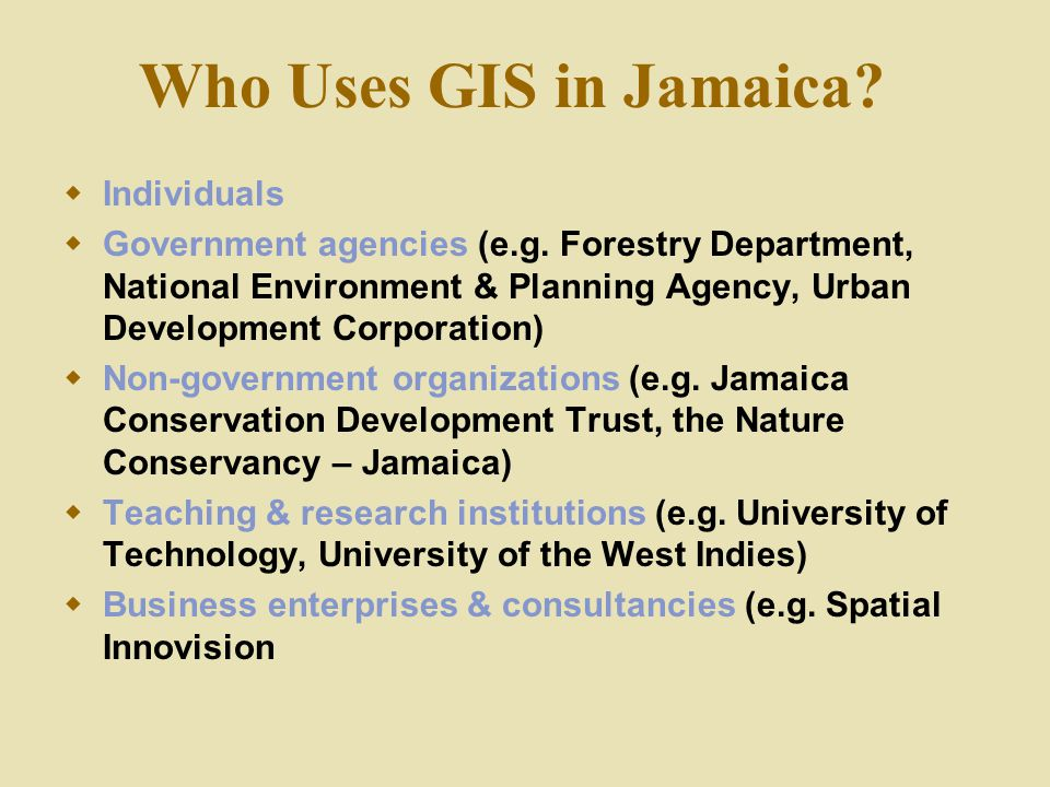 Who Uses GIS in Jamaica Individuals