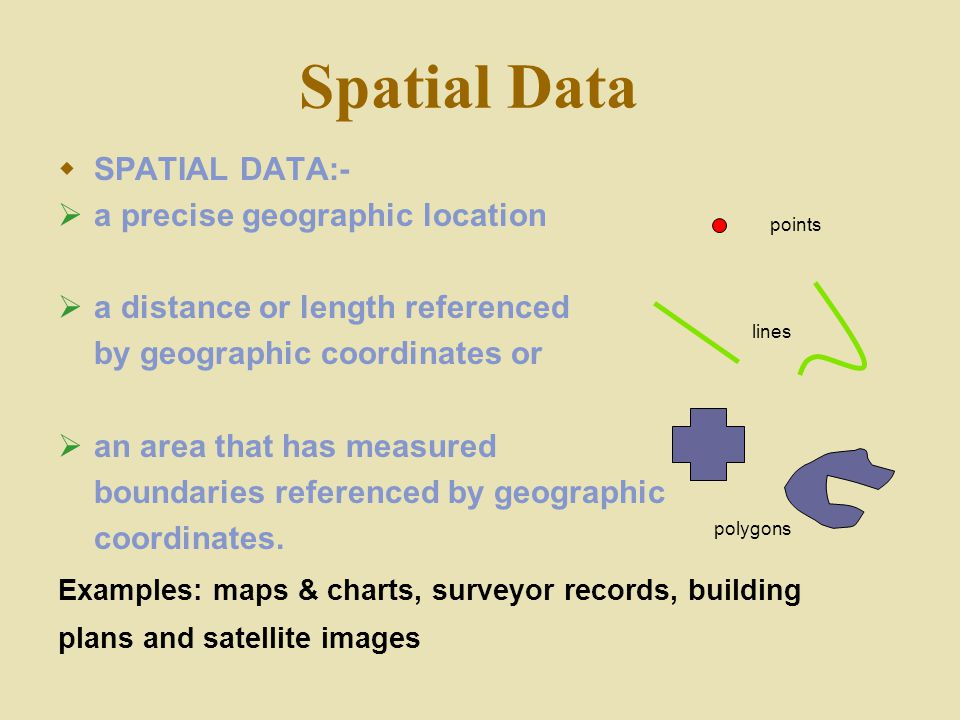 Spatial Data SPATIAL DATA:- a precise geographic location