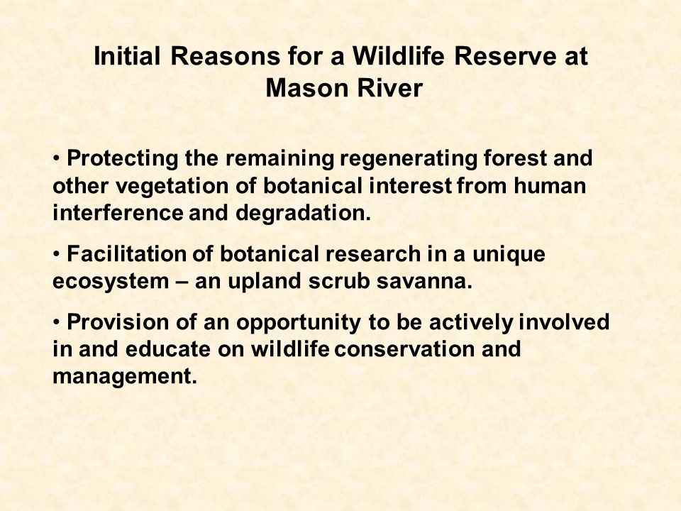 Initial Reasons for a Wildlife Reserve at Mason River