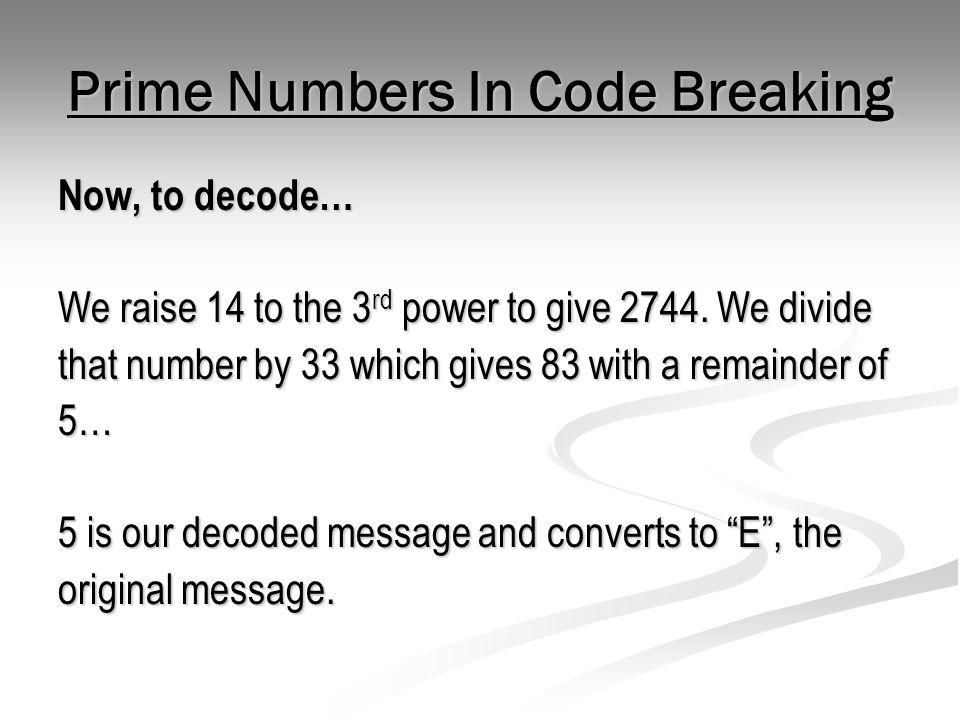 Prime Numbers In Code Breaking