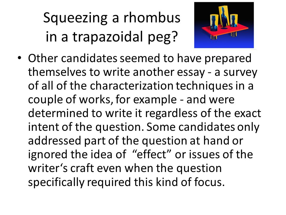Squeezing a rhombus in a trapazoidal peg