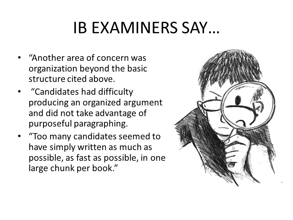 IB EXAMINERS SAY… Another area of concern was organization beyond the basic structure cited above.