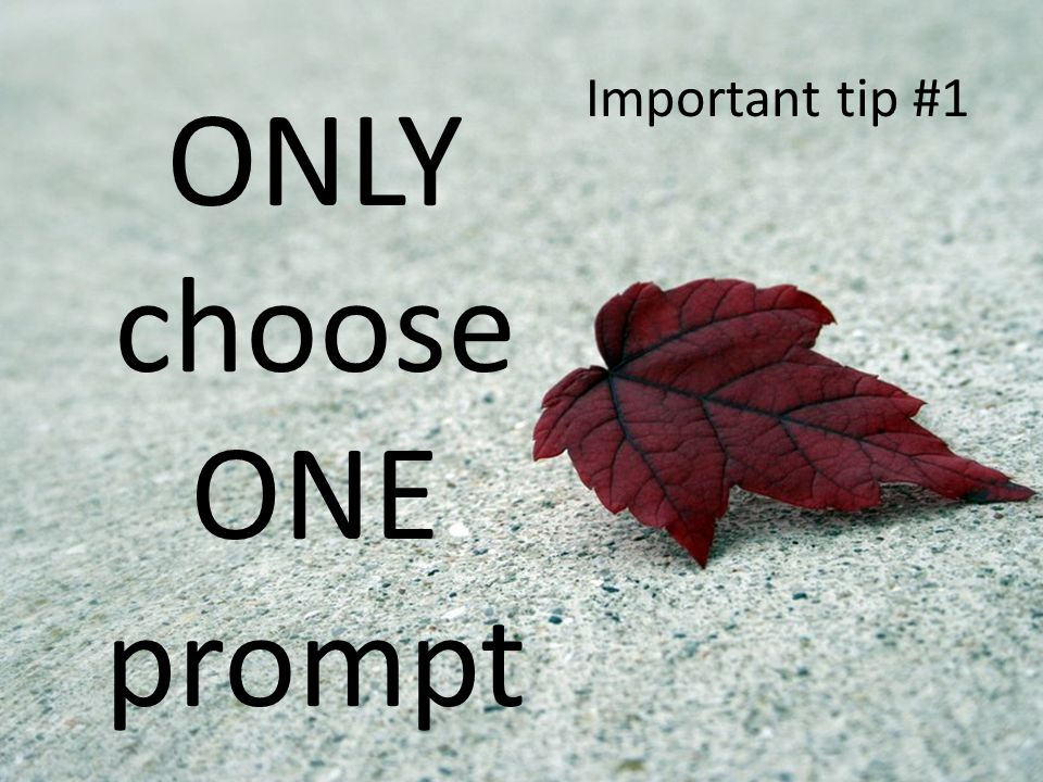 ONLY choose ONE prompt Important tip #1