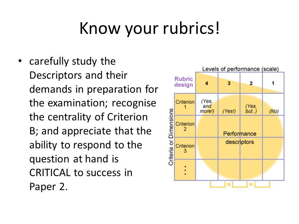 Know your rubrics!