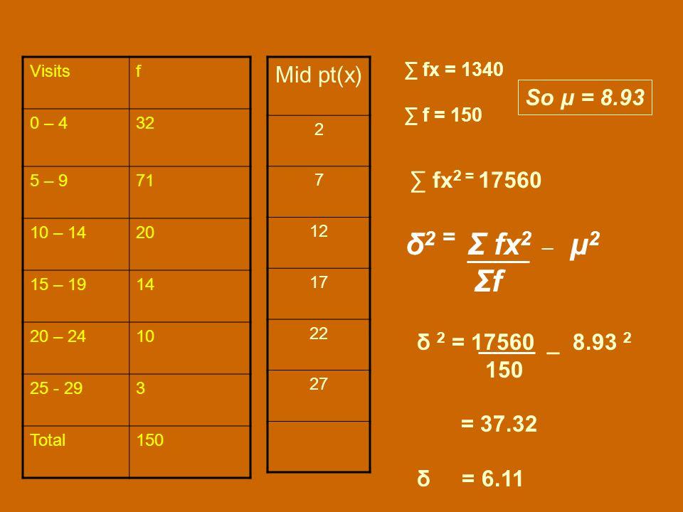 δ2 = Σ fx2 _ μ2 Σf Mid pt(x) So μ = 8.93 ∑ fx2 = 17560