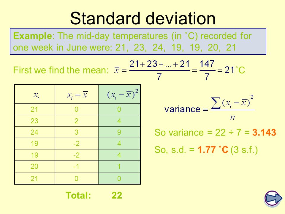 Standard deviation Example: The mid-day temperatures (in ˚C) recorded for one week in June were: 21, 23, 24, 19, 19, 20, 21.