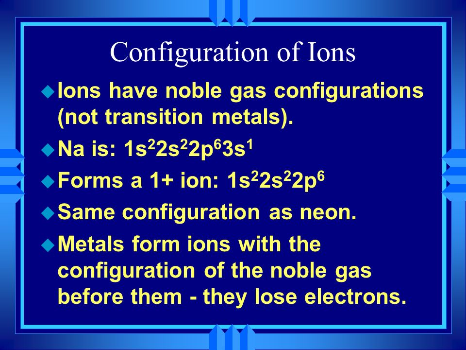 Configuration of Ions Ions have noble gas configurations (not transition metals). Na is: 1s22s22p63s1.