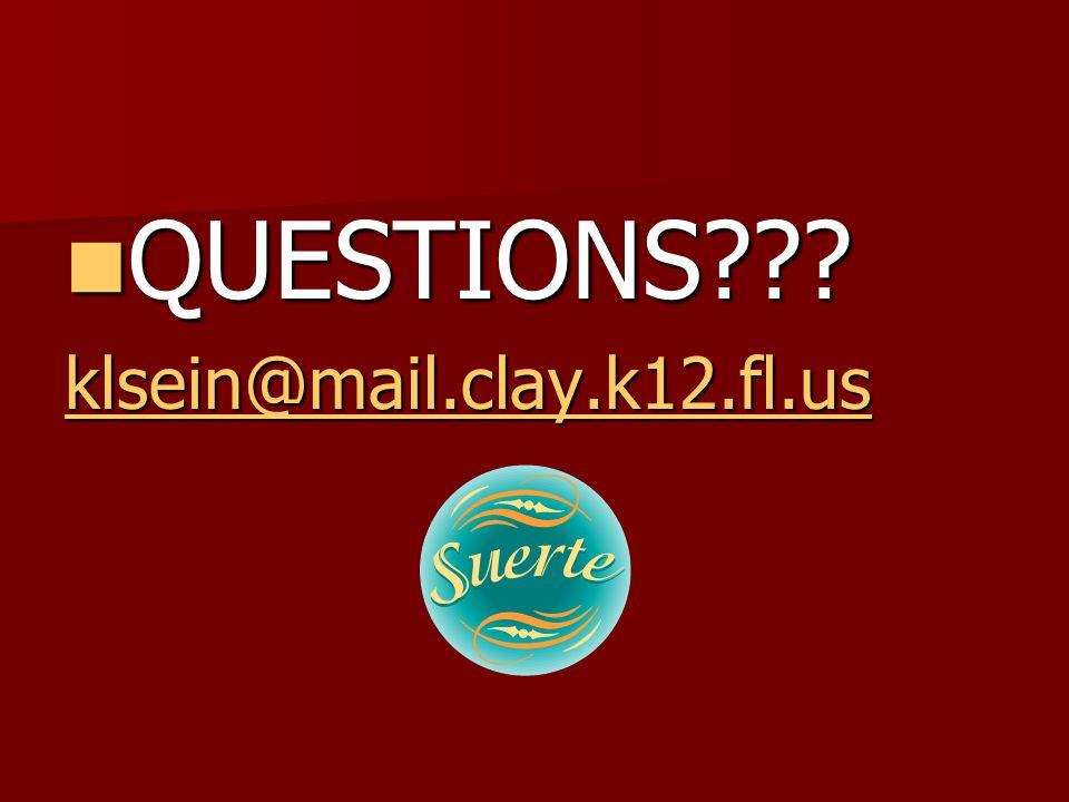 QUESTIONS klsein@mail.clay.k12.fl.us