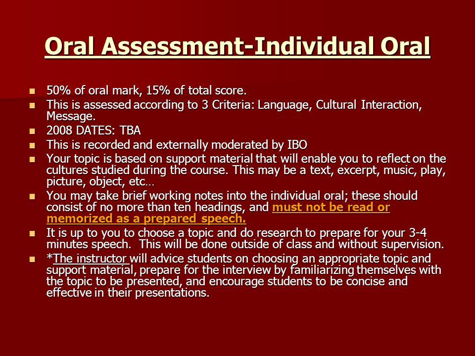 Oral Assessment-Individual Oral