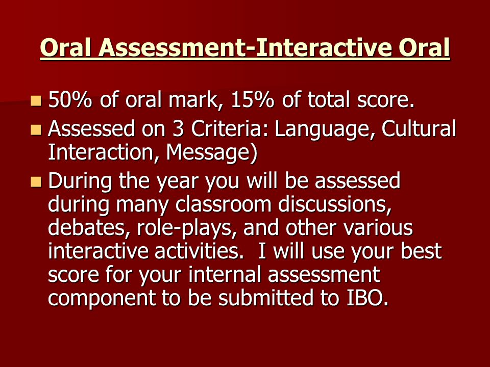 Oral Assessment-Interactive Oral