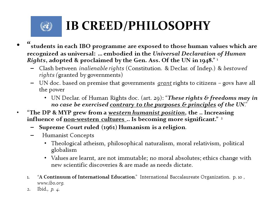 IB CREED/PHILOSOPHY