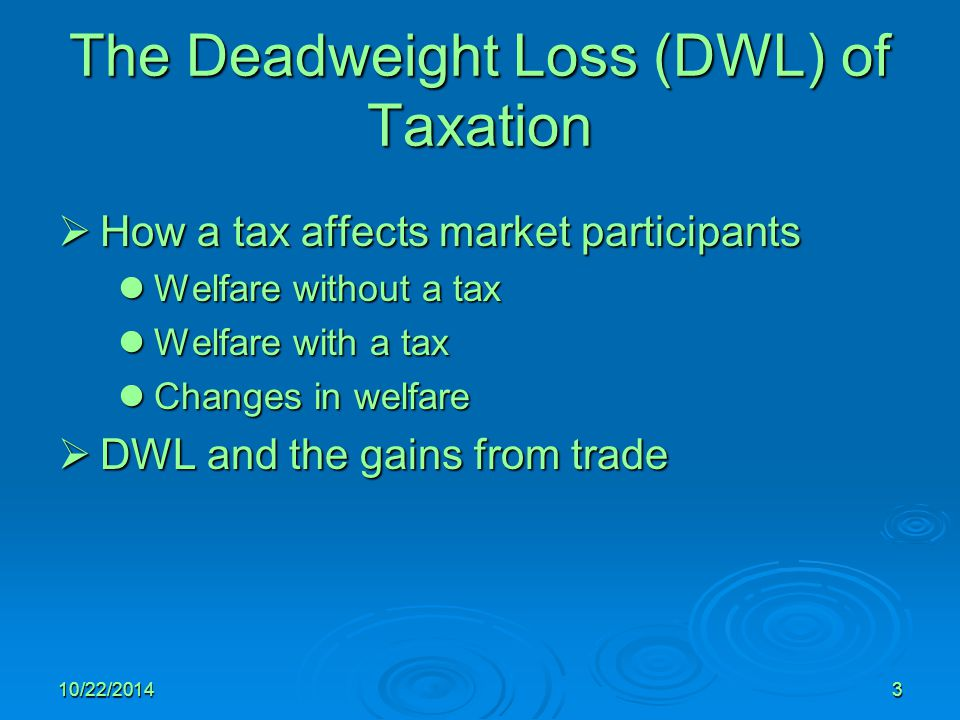 The Deadweight Loss (DWL) of Taxation