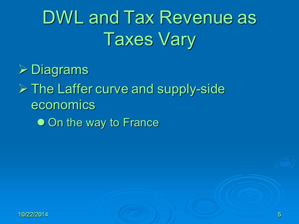 DWL and Tax Revenue as Taxes Vary