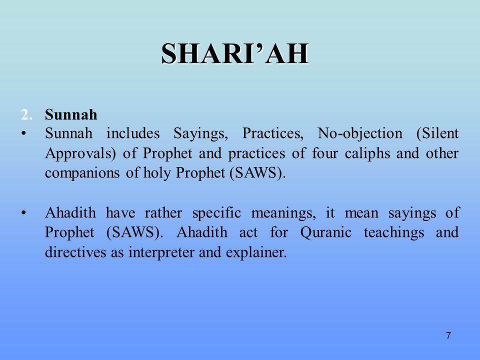 SHARI'AH 2. Sunnah.