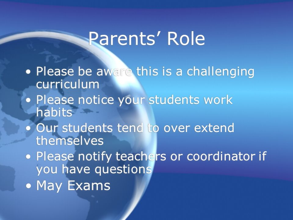 Parents' Role May Exams