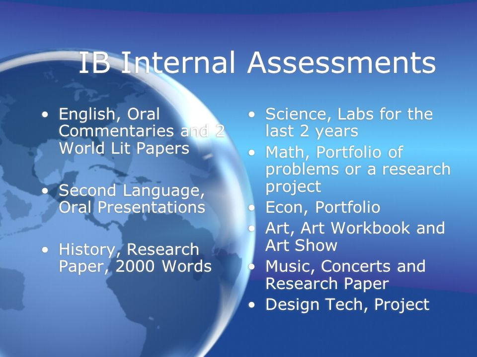 IB Internal Assessments