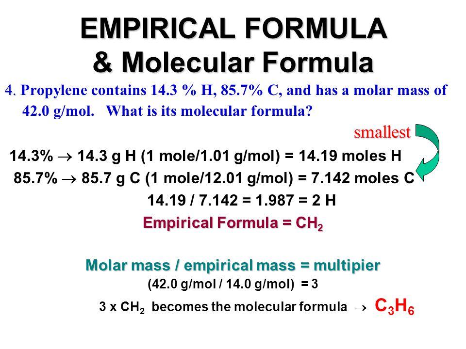EMPIRICAL FORMULA & Molecular Formula