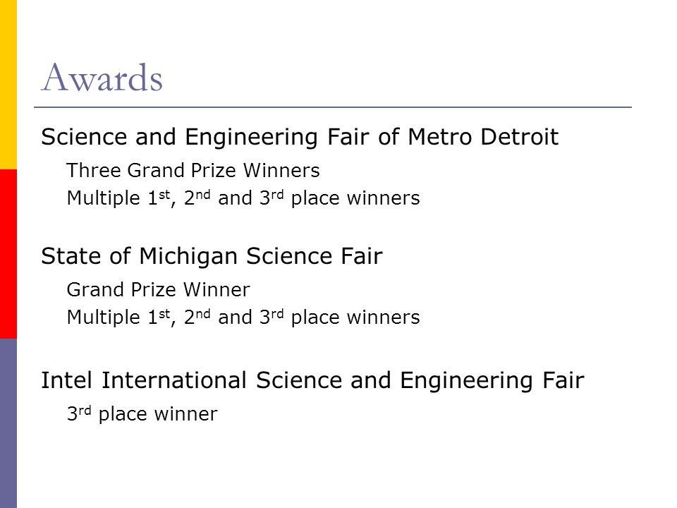 Awards Science and Engineering Fair of Metro Detroit