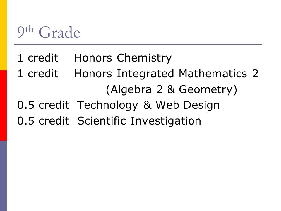 9th Grade 1 credit Honors Chemistry