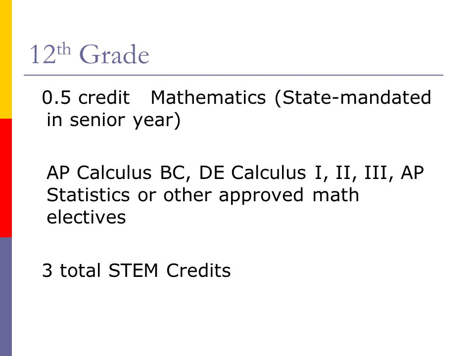12th Grade 0.5 credit Mathematics (State-mandated in senior year)