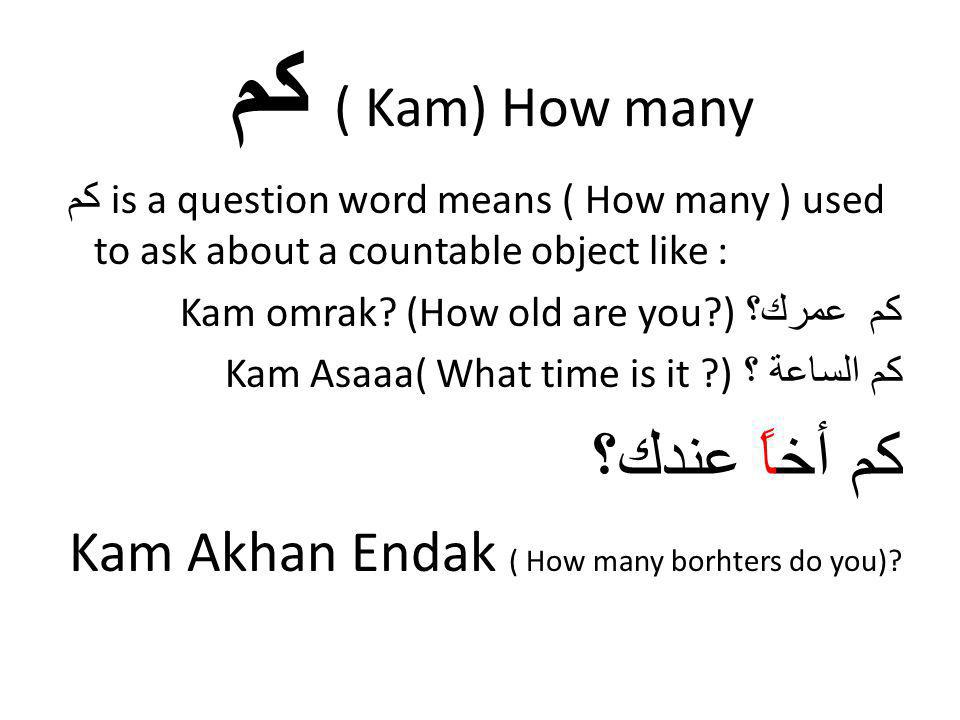 كم ( Kam) How many كم أخاً عندك؟